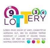 Große Lotterieanzeige mit nummerierten bunten Bällen und Beispieltext Lizenzfreie Stockbilder