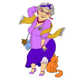 Große Mode Großmutter mit Katze und Hund Lizenzfreies Stockfoto
