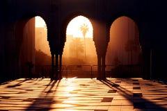 Große Moschee von Hassan 2 bei Sonnenuntergang in Casablanca, Marokko beaut lizenzfreies stockfoto