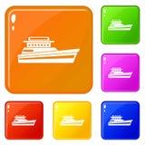 Große Motorbootikonen stellten Vektorfarbe ein lizenzfreie abbildung