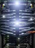 Große Netzkabel angeschlossen, um - Nahaufnahme der Rechenzentrum-Hardware zu schalten lizenzfreie stockfotos
