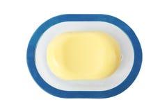 Große ovale gelbe Seife lokalisiert auf weißem Hintergrund Stockfotos