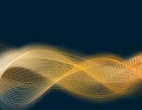 Große Party und Leistung Abstrakte getrennte Wellen der goldenen Farbe im Glühen eines Glühens harmonik Isolatoren auf einem schw Lizenzfreie Stockfotos