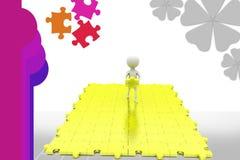 große Puzzlespielillustration des Mannes 3d Lizenzfreie Stockfotografie