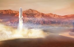 Große Raketenländer oder von Mars-Oberfläche sich entfernen stockbilder