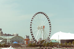 Große Riesenrad herein Chicago-Stadtzentrum stockbilder