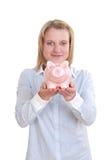 Große rosafarbene piggy Querneigung stockbild
