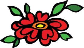 Große rote Blume und Blattblumenauslegung Lizenzfreie Stockbilder