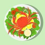 Große rote Krabbe auf weißer Platte mit Zitronenscheiben, Kopfsalat verlässt, Zwiebel, Tomaten, Soße Flache Illustration des Vekt lizenzfreie abbildung
