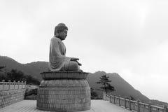 Große rulai Buddha-Steinstatue, Schwarzweiss-Bild Stockfotografie