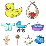 Große Sammlung der Baby getragenen Vektorsymbol-Vorratillustration Stockbild
