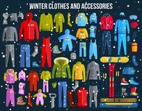 Große Sammlung der gemütlichen Winterkleidung und des Winters Stockfotografie