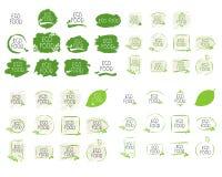Große Sammlung Eco-Lebensmittelkennzeichnungen und Produktausweise der hohen Qualität Gesundes Bioorganisches, 100 Bio und Naturp vektor abbildung