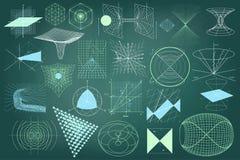 Große Sammlung Elemente, Symbole und Entwürfe von Physik Stockbild