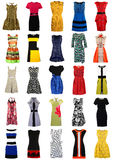 Große Sammlung stilvolle Frauenkleider lokalisiert auf Weiß Lizenzfreies Stockfoto