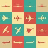 Große Sammlung verschiedene Flugzeugikonen Lizenzfreies Stockbild