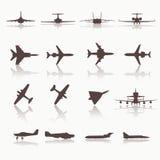 Große Sammlung verschiedene Flugzeugikonen Stockfotografie