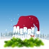 Große Santa Cap für Feier der frohen Weihnachten Lizenzfreie Stockfotos