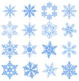 Große Satz Schneeflocke Flocke des Schnees stock abbildung