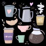 Große Satzillustrationen des Kaffees Kaffee zum Mitnehmen, Kaffeetöpfe, Schalen und Gestaltungselemente Lizenzfreie Abbildung