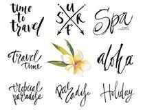 Große Satzreisephrasen Getrennt auf weißem Hintergrund Hand gezeichnete Beschriftung Stockbild