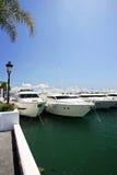 Große, schöne, erstaunliche und luxuriöse weiße Yachten Lizenzfreie Stockbilder
