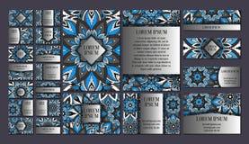 Große Schablonen eingestellt Visitenkarten, Einladungen und Fahnen Blumenmandalamusterverzierungen Orientalischer Entwurf Stockbild