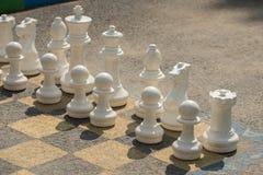 Große Schachfiguren auf dem Asphalt im Sommer lizenzfreie stockfotos