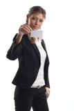Große schauende Geschäftsfrau Stockfotografie