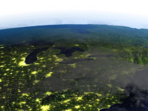 Große Seen nachts auf realistischem Modell von Erde lizenzfreie abbildung
