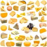 Große Seite der Käseansammlung Stockfoto