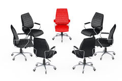Große Sitzung des Geschäfts Stühle, die um mit rotem Leder vereinbaren Stockfotografie