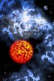 Große Sonne mit Orion im Platz stock abbildung