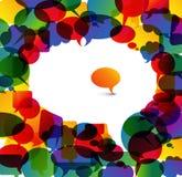 Große Spracheluftblase gebildet von den bunten kleinen Luftblasen Lizenzfreies Stockbild