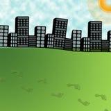 Große Stadt- und Fußjobsteps auf grünem Gras Stockfoto