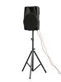 Große starke Audiosprecher lokalisiert auf weißem Hintergrund Stockfotos