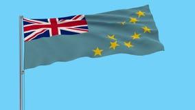 Große Stoffisolatflagge von Tuvalu auf einem flatternden Fahnenmast, prores 4k Gesamtlänge, Alphatransparenz stock footage