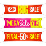 Große Super-, abschließende, Mega- Verkaufsfahnen vektor abbildung