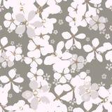 Große und kleine weiße und graue Blumen mit Goldkern auf aschgrauem Hintergrund stock abbildung