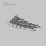 Große und Luxusyachtvektorillustration Schwarzes und transparentes privates Schiff lokalisierter Vektor Exklusives Schiff Stockfotografie