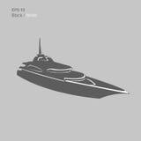 Große und Luxusyachtvektorillustration Schwarzes und transparentes privates Schiff lokalisierter Vektor Exklusives Schiff Stockbilder