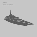 Große und Luxusyachtvektorillustration Schwarzes und transparentes privates Schiff lokalisierter Vektor Exklusives Schiff Stockfoto