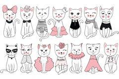 Große Vektorsammlung mit netten Modekatzen Stilvoller Kätzchensatz Stockbild