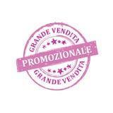 Große Verkäufe! JETZT! Italienischer Stempel für Druck Stockfotos