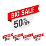 Große Verkaufs-Rabattaufkleber vektor abbildung