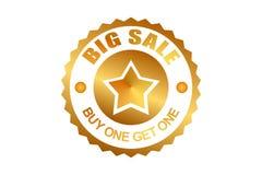 Gro?e Verkaufsband-Aufkleberweinlese Goldene Farbe spezielles Verkaufsangebot Kauf man erhalten ein stock abbildung