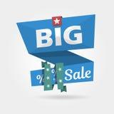 Große Verkaufsfahne, realistisches gekurvt Sonderangebot der Schablone Vektorillustrations-Websiteelemente Lizenzfreie Stockfotos
