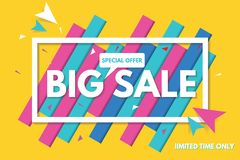 Große Verkaufsfahnenschablone mit abstraktem Hintergrund Verkaufsfahnendesign Abbildung im Vektor lizenzfreie stockbilder