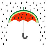 Große Wassermelonenscheibe geschnitten mit Samen Regenschirm und Regen Flache Designikone Sommer-Herbstabfallzeit Getrennt Weißer lizenzfreie abbildung