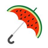 Große Wassermelonenscheibe geschnitten mit Samen Regenschirmform Flache Designikone Sommer-Herbstabfallzeit Weißer Hintergrund Ge vektor abbildung